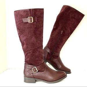 ShoeDazzle Knee High Boots Riding Tall Burgundy